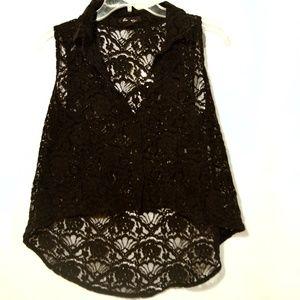 FOREVER 21 Lace Top Shirt Blouse Vest Black Medium